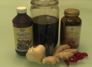 Elderberry syrup (store-bought and homemade); garlic, ginger, Vitamin C and zinc losenges